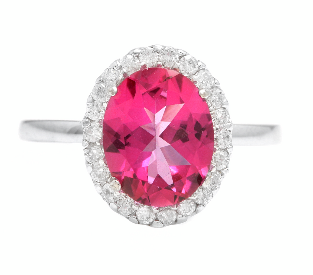 2.45 Carats Natural Pink Topaz and Diamond 14k Solid White Gold Ring