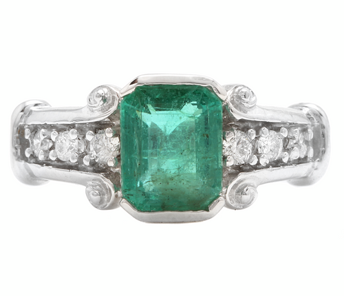 2.25ct Natural Emerald & Diamond 14k Solid White Gold Ring