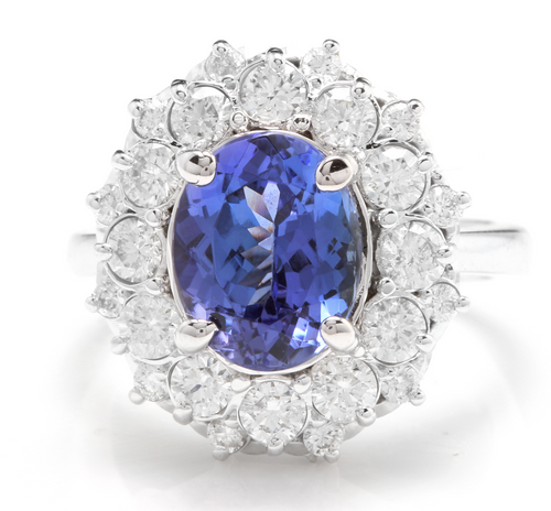 5.30 Carats Natural Tanzanite and Diamond 14k Solid White Gold Ring