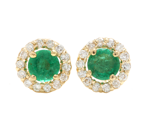 1.00ct Natural Emerald and Diamond 14k Solid Yellow Gold Earrings