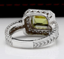 Load image into Gallery viewer, 3.75 Carats Natural Very Nice Looking Peridot and Diamond 14K Solid White Gold Ring
