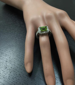 3.75 Carats Natural Very Nice Looking Peridot and Diamond 14K Solid White Gold Ring