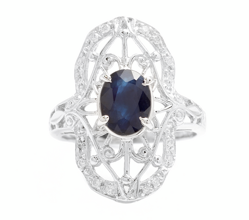 Art Deco Style 2.00ct Natural Sapphire and Diamond 14k Solid White Gold Ring