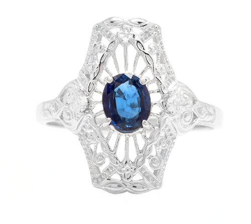 Art Deco Style Natural Sapphire and Diamond 14k Solid White Gold Ring