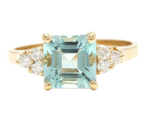 2.75 Carats Natural Aquamarine and Diamond 14k Solid Yellow Gold Ring