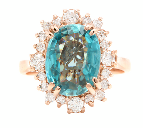 7.80 Carats Natural Blue Zircon and Diamond 14k Solid Rose Gold Ring