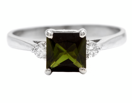 1.25 Carats Natural Green Tourmaline and Diamond 14k Solid White Gold Ring