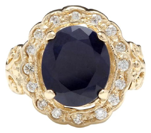 8.00 Carats Exquisite Natural Blue Sapphire and Diamond 14K Solid Yellow Gold Ring