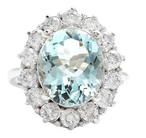 6.15 Carats Natural Aquamarine and Diamond 14k Solid White Gold Ring