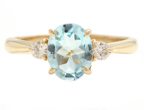 1.16 Carats Natural Aquamarine and Diamond 14k Solid Yellow Gold Ring