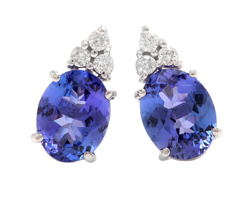4.20ct Natural Tanzanite and Diamond 14k Solid White Gold Earrings