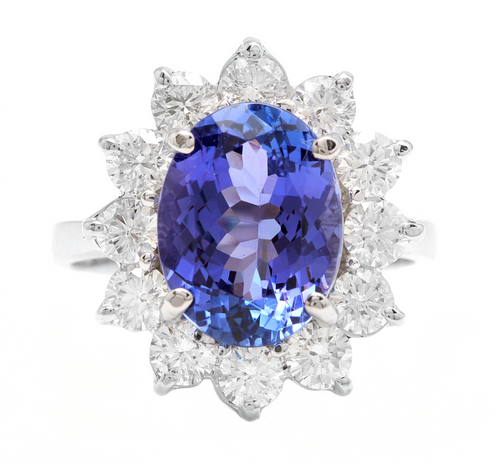 5.75 Carats Natural Tanzanite and Diamond 18k Solid White Gold Ring