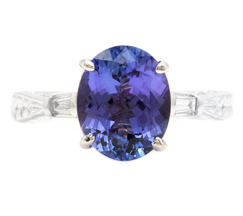 3.14 Carats Natural Tanzanite and Diamond 14k Solid White Gold Ring