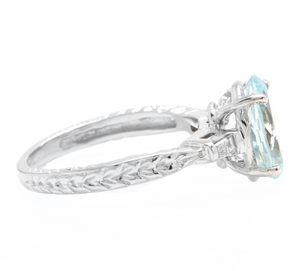 3.14ct Natural Aquamarine & Diamond 14k Solid White Gold Ring