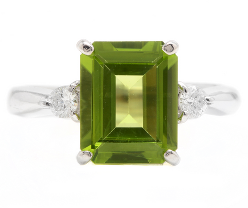 3.18 Carats Natural Peridot and Diamond 14k Solid White Gold Ring