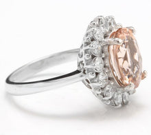 Load image into Gallery viewer, 4.30 Carats Impressive Natural Morganite and Diamond 14K Solid White Gold Ring