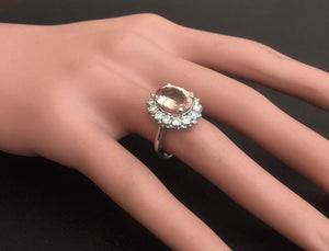 4.30 Carats Impressive Natural Morganite and Diamond 14K Solid White Gold Ring