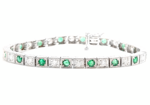 4.70ct Natural Emerald and Diamond 14k Solid White Gold Bracelet