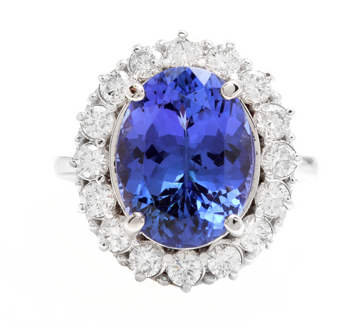 9.90 Carats Natural Tanzanite and Diamond 18k Solid White Gold Ring