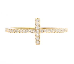 0.25ct Natural Diamond 14k Solid Yellow Gold Cross Ring