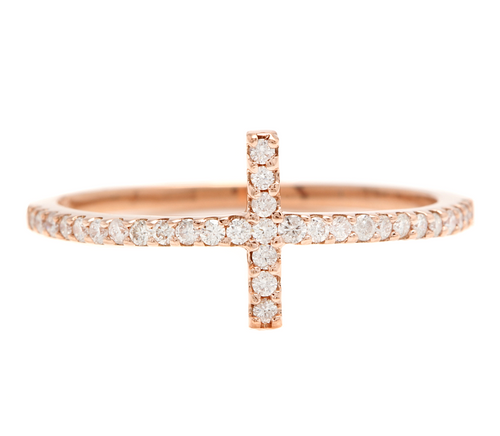 0.25ct Natural Diamond 14k Solid Rose Gold Cross Ring