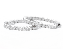 Load image into Gallery viewer, 2.15ct Natural Diamond 14k Solid White Gold Hoop Earrings