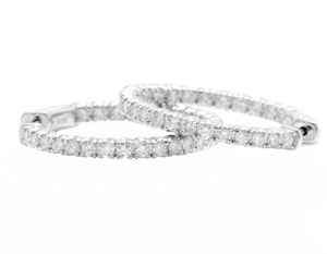2.15ct Natural Diamond 14k Solid White Gold Hoop Earrings