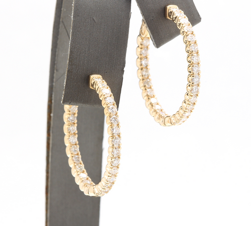 2.15ct Natural Diamond 14k Solid Yellow Gold Hoop Earrings