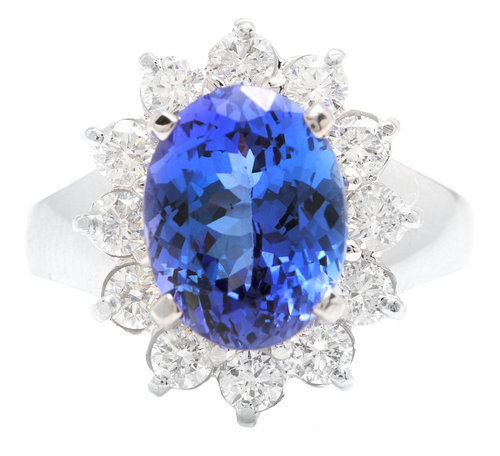 4.90 Carats Natural Tanzanite and Diamond 14k Solid White Gold Ring