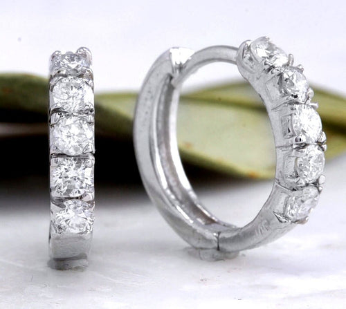 0.70ct Natural Diamond 14k Solid White Gold Hoop Earrings