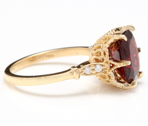 3.68 Carats Natural Garnet and Diamond 14K Solid Yellow Gold Ring