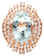 Load image into Gallery viewer, 11.00 Carats Exquisite Natural Aquamarine and Diamond 14K Solid Rose Gold Ring