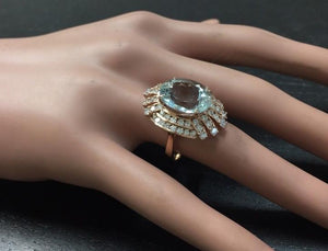 11.00 Carats Exquisite Natural Aquamarine and Diamond 14K Solid Rose Gold Ring