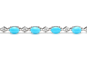 6.20 Natural Turquoise and Diamond 14k Solid White Gold Bracelet