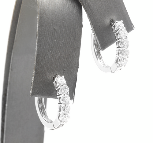 0.80ct Natural Diamond 14k Solid White Gold Hoop Earrings