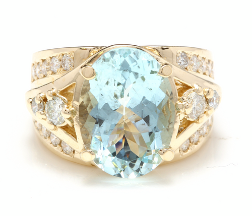 8.30 Ct Natural Aquamarine and Diamond 18k Solid Yellow Gold Ring