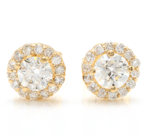 0.90ct Natural Diamond 14k Solid Yellow Gold Earrings