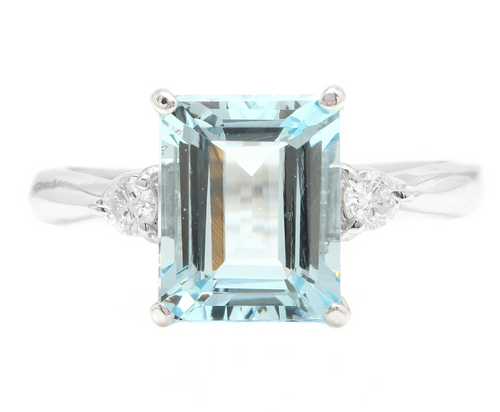 3.28 Carats Natural Aquamarine and Diamond 14k Solid White Gold Ring
