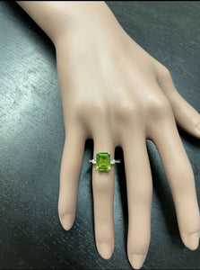 3.18 Carats Natural Peridot and Diamond 14k Solid Yellow Gold Ring