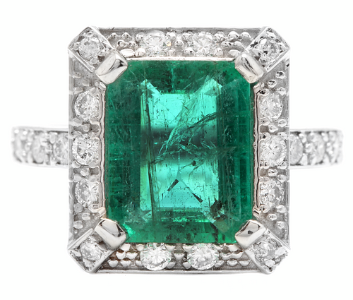 4.60ct Natural Emerald & Diamond 14k Solid White Gold Ring