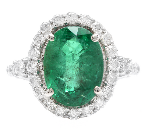 5.00ct Natural Emerald & Diamond 14k Solid White Gold Ring