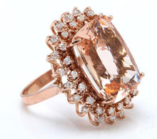 Load image into Gallery viewer, 19.20 Carats Exquisite Natural Peach Morganite and Diamond 14K Solid Rose Gold Ring