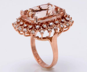 19.20 Carats Exquisite Natural Peach Morganite and Diamond 14K Solid Rose Gold Ring