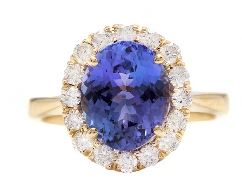 3.70 Carats NATURAL TANZANITE and DIAMOND 14K Solid Yellow Gold Ring