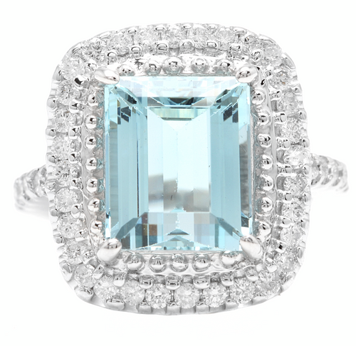 Heavy 5.80 Carats NATURAL AQUAMARINE and DIAMOND 14K Solid White Gold Ring