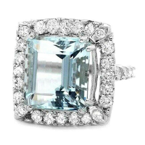 9.60 Carats Natural Aquamarine and Diamond 14k Solid White Gold Ring