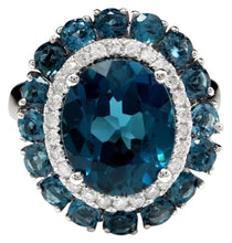 Load image into Gallery viewer, 8.45 Carats Natural Impressive LONDON BLUE TOPAZ and Diamond 14K White Gold Ring