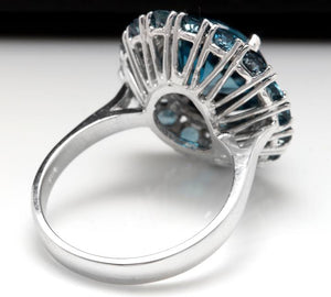 8.45 Carats Natural Impressive LONDON BLUE TOPAZ and Diamond 14K White Gold Ring