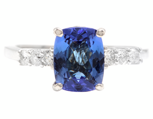 2.50 Carats Natural Tanzanite and Diamond 14k Solid White Gold Ring