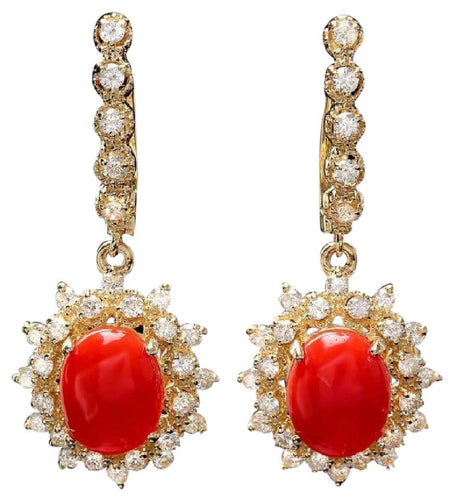 Exquisite 5.60 Carats Natural Coral and Diamond 14K Solid Yellow Gold Earrings